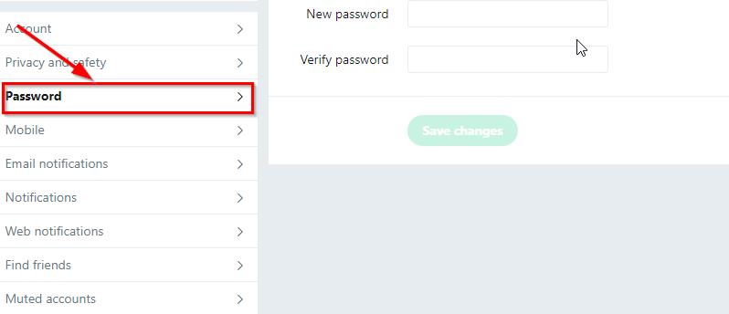 change twitter password button