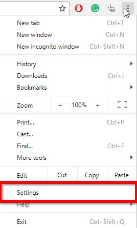 chrome settings option in menu