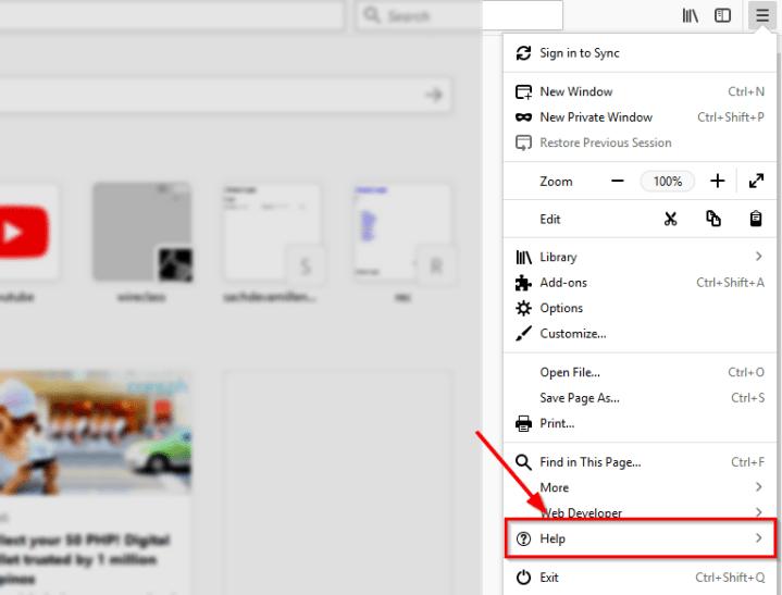 firefox menu help option