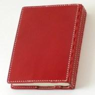 蝶番のレザーブックカバー Red 1