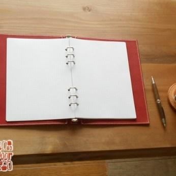 A5 レザー蝶番のシステム手帳 Red 2