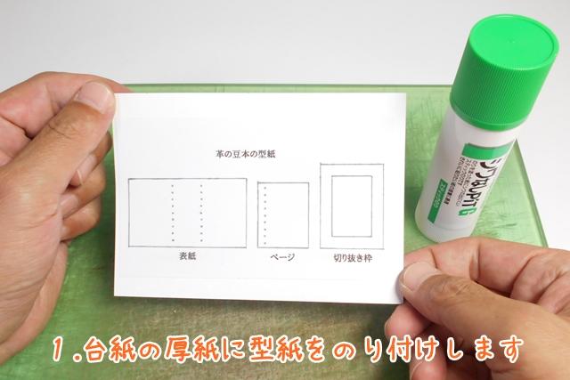 1.台紙の厚紙に型紙をのり付けします