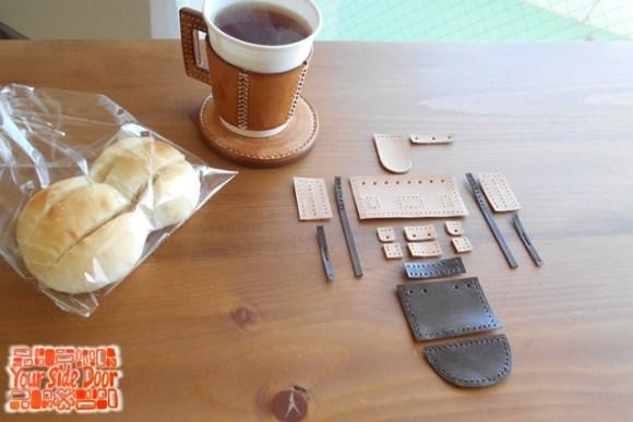 裁断、穴あけ、漉きまで済んで紅茶の時間です