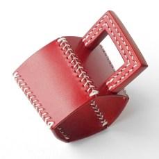 五角のレザーカップスリーブ Red 3