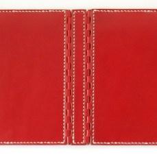 蝶番のレザーブックカバー Red 4