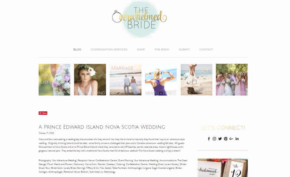 Canadian Adventure Wedding Featured on Wedding Blog