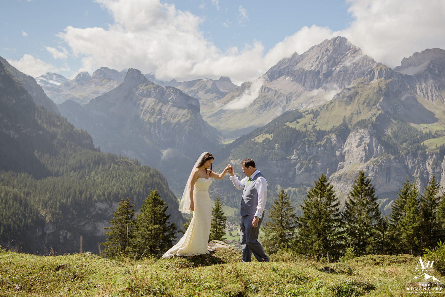 Couple exploring the Swiss Alps on wedding day