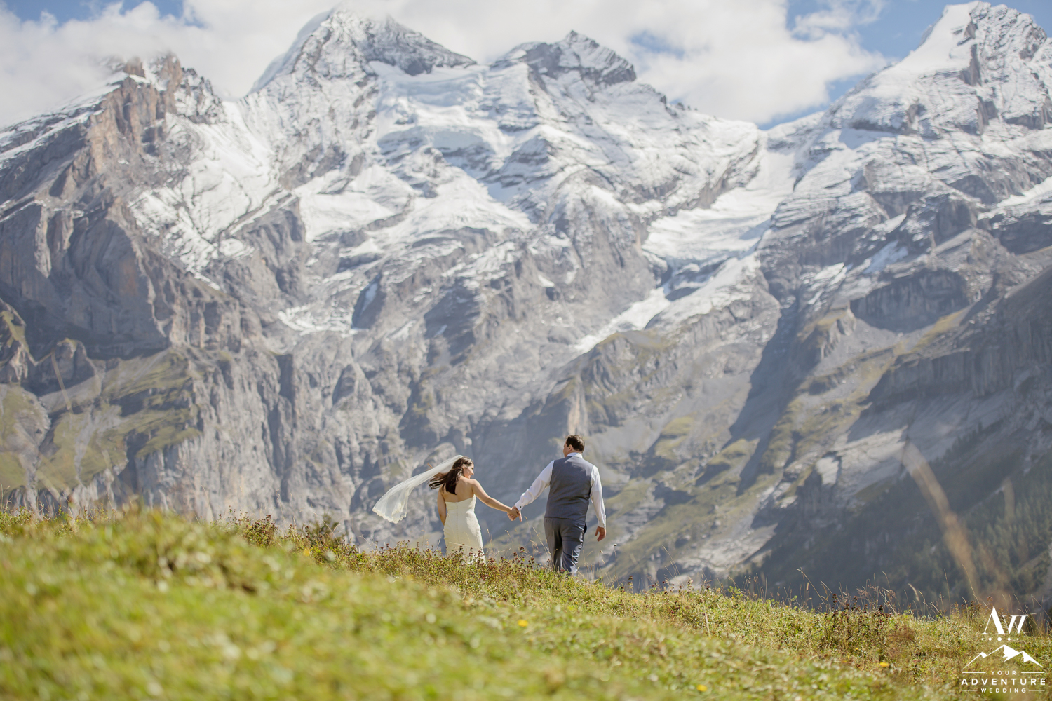 Couple walking in Switzerland elopement photos