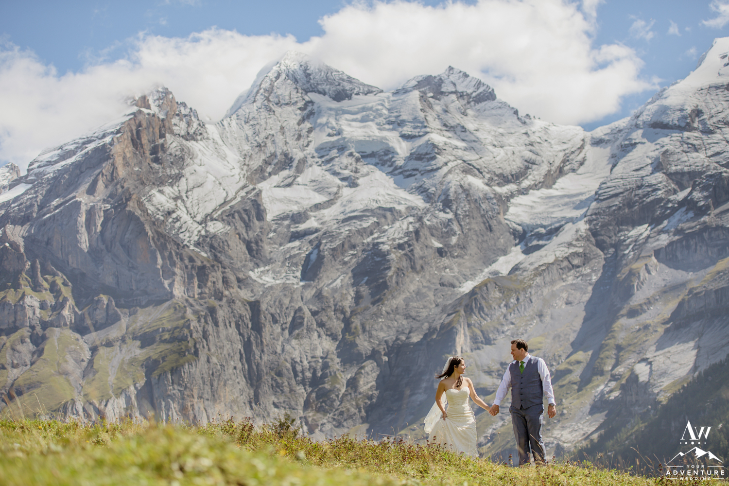 Elopement Couple Exploring the Swiss Alps