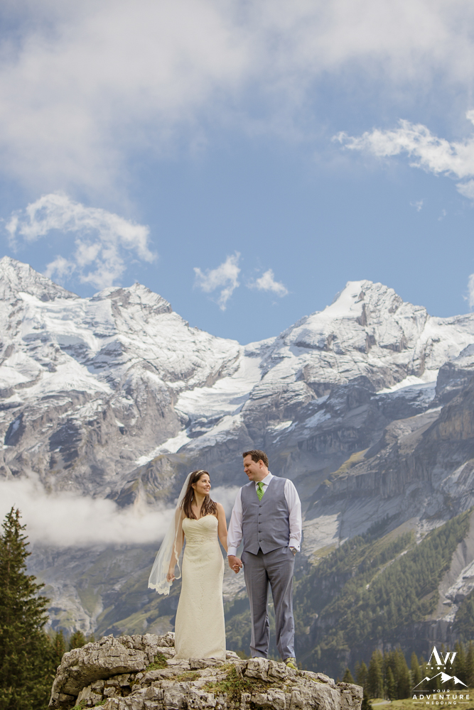 Switzerland Wedding Photos with Alps behind