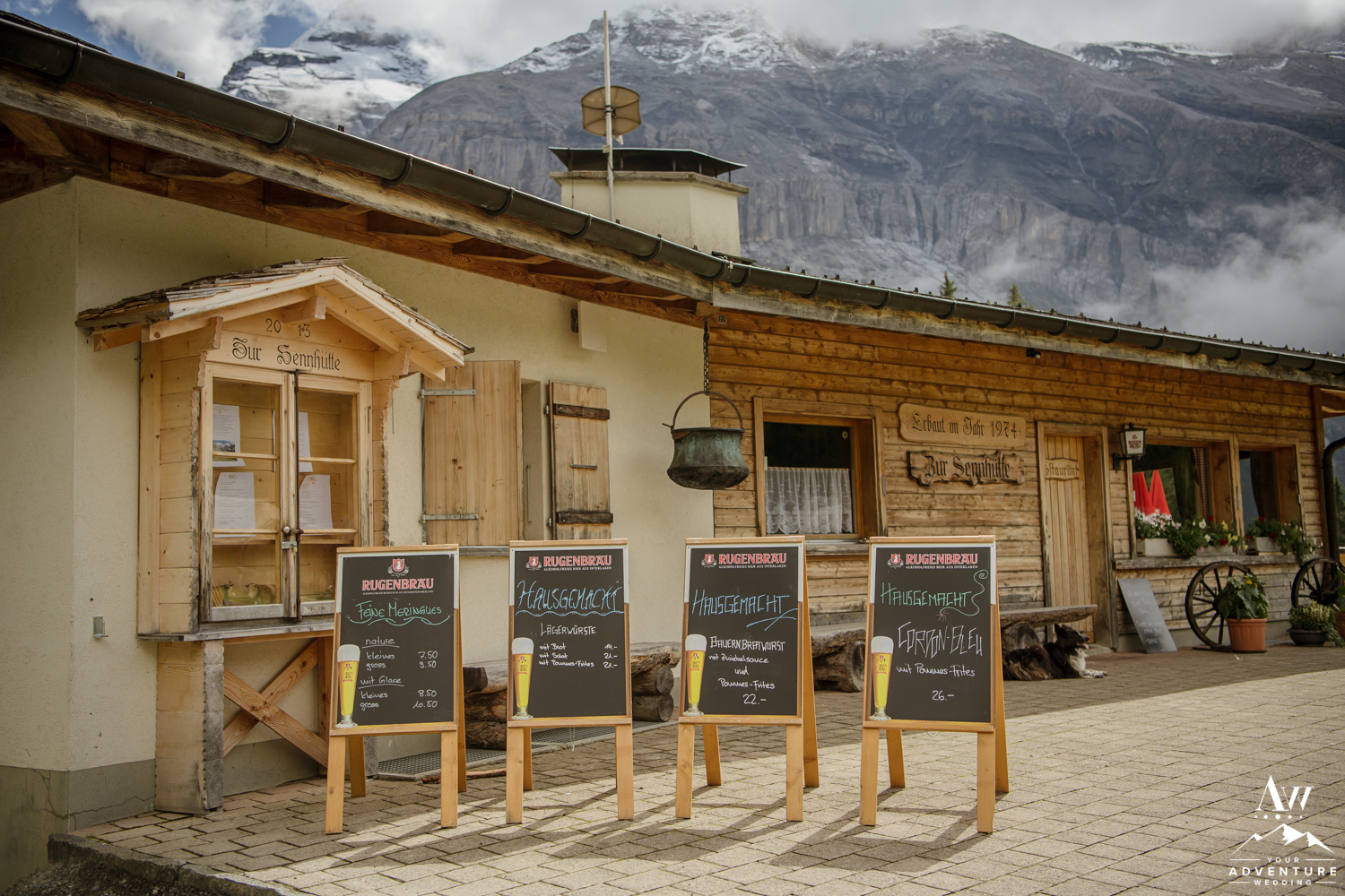 Food and drink list at Oeschinensee Lake Restaurant