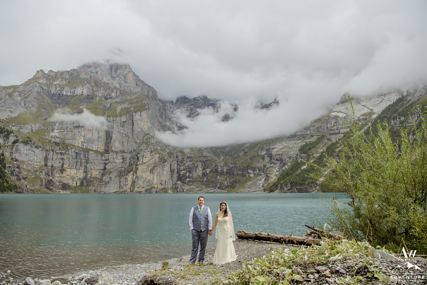 Adventurous couple in Switzerland on wedding day