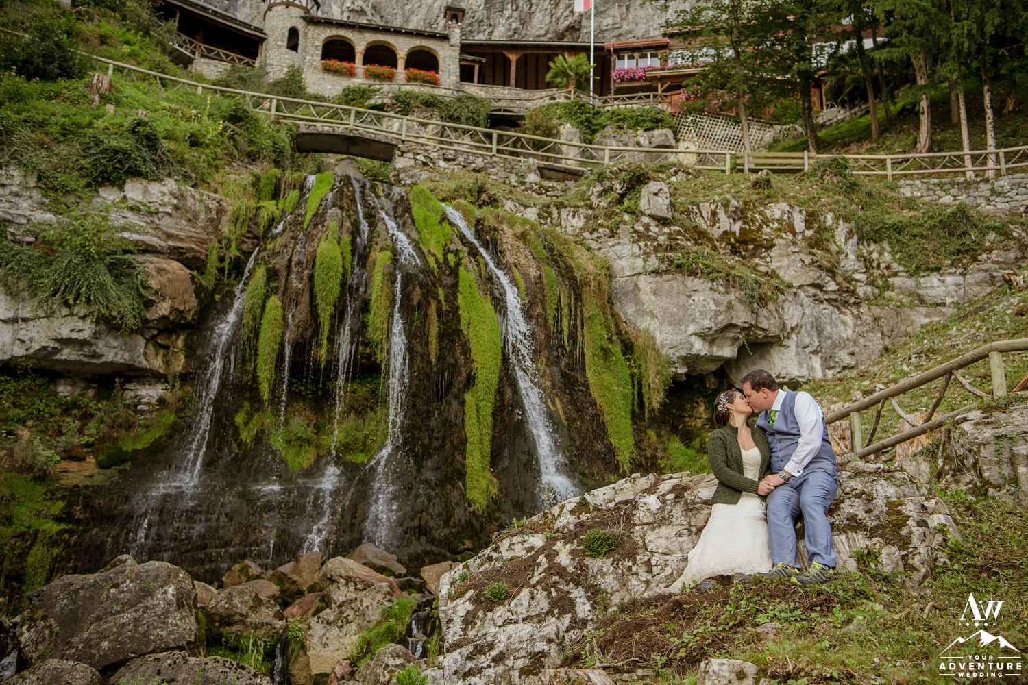 Romantic Wedding Photos at st beatus caves switzerland