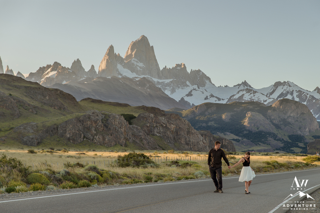 Couple walking on the road in Patagonia