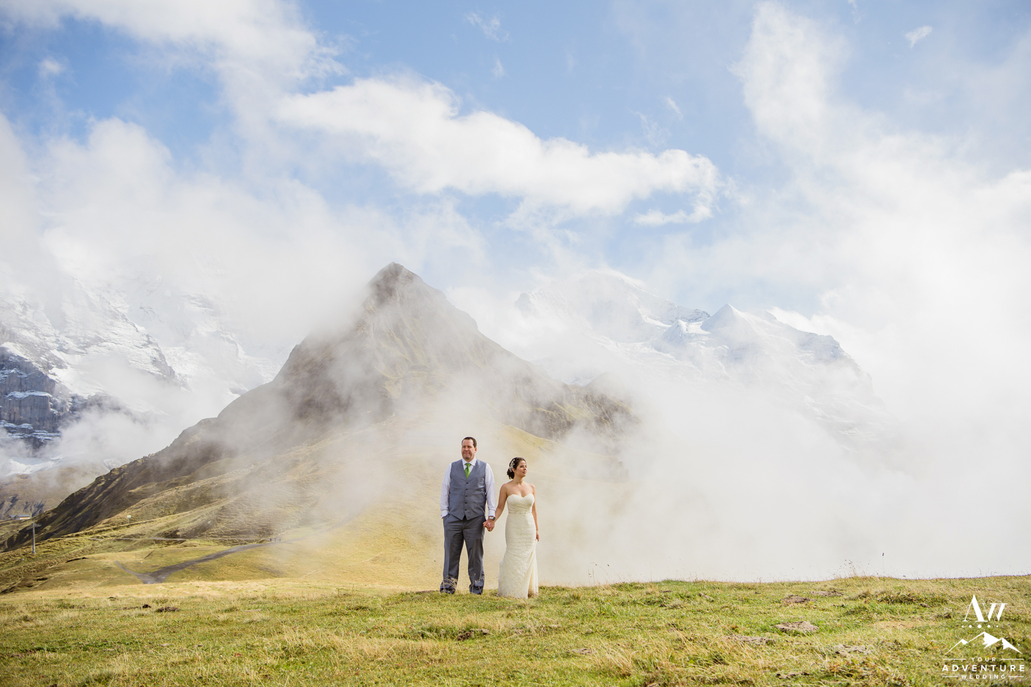 Jungfrau mountain in the background of adventure wedding photos