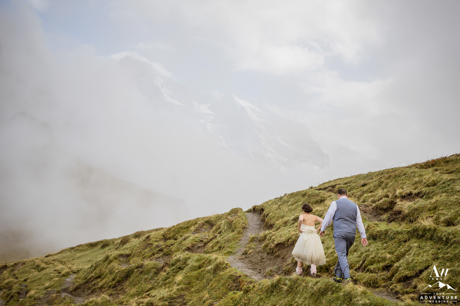 Couple Hiking during Elopement in Switzerland