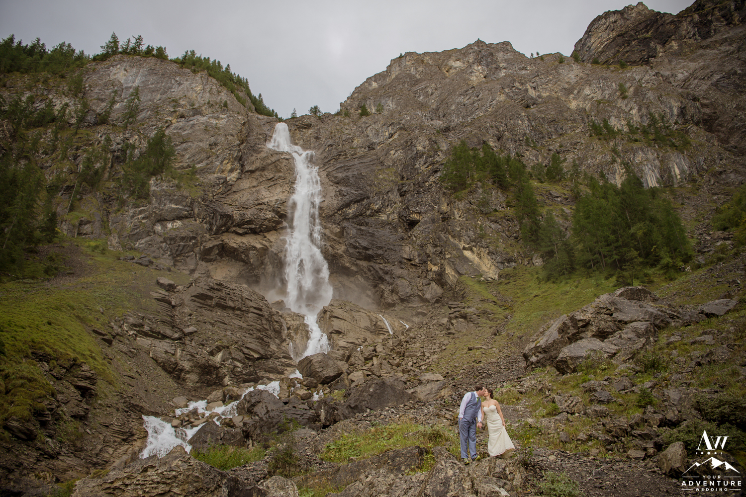 Engstligenalp Waterfall Wedding in Adelboden Switzerland