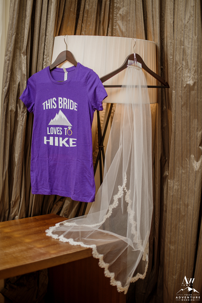 This Bride Loves to Hike Bride Tee Shirt