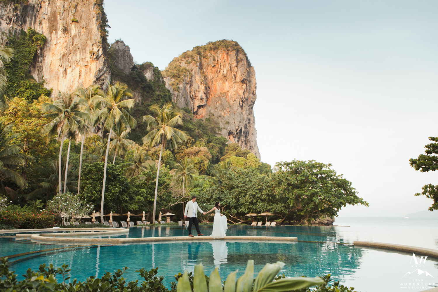 Thailand Wedding Couple exploring the Rayavadee Luxury Resort