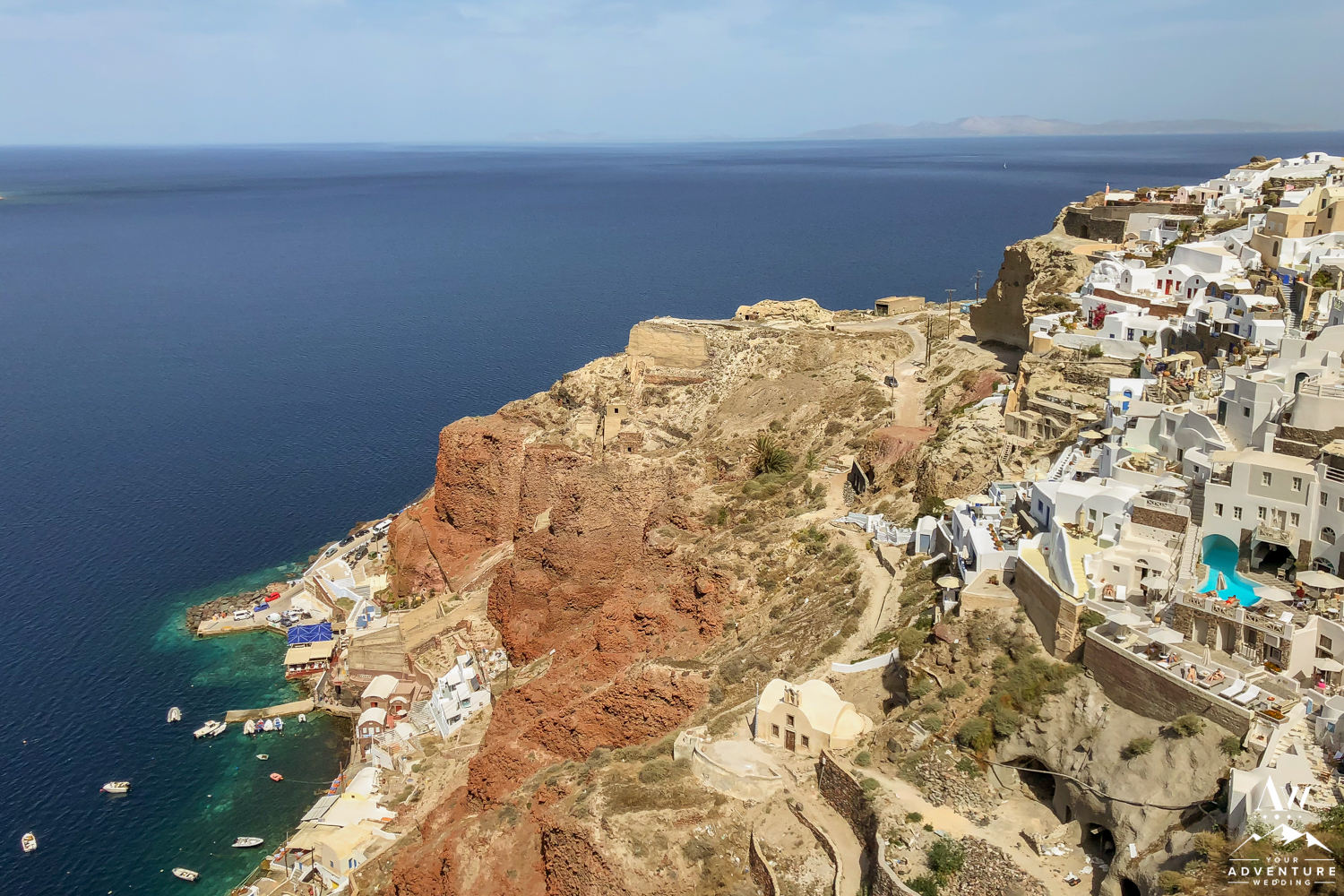 Santorini by helicopter wedding location