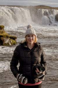Jean Smith in front of Iceland Waterfall