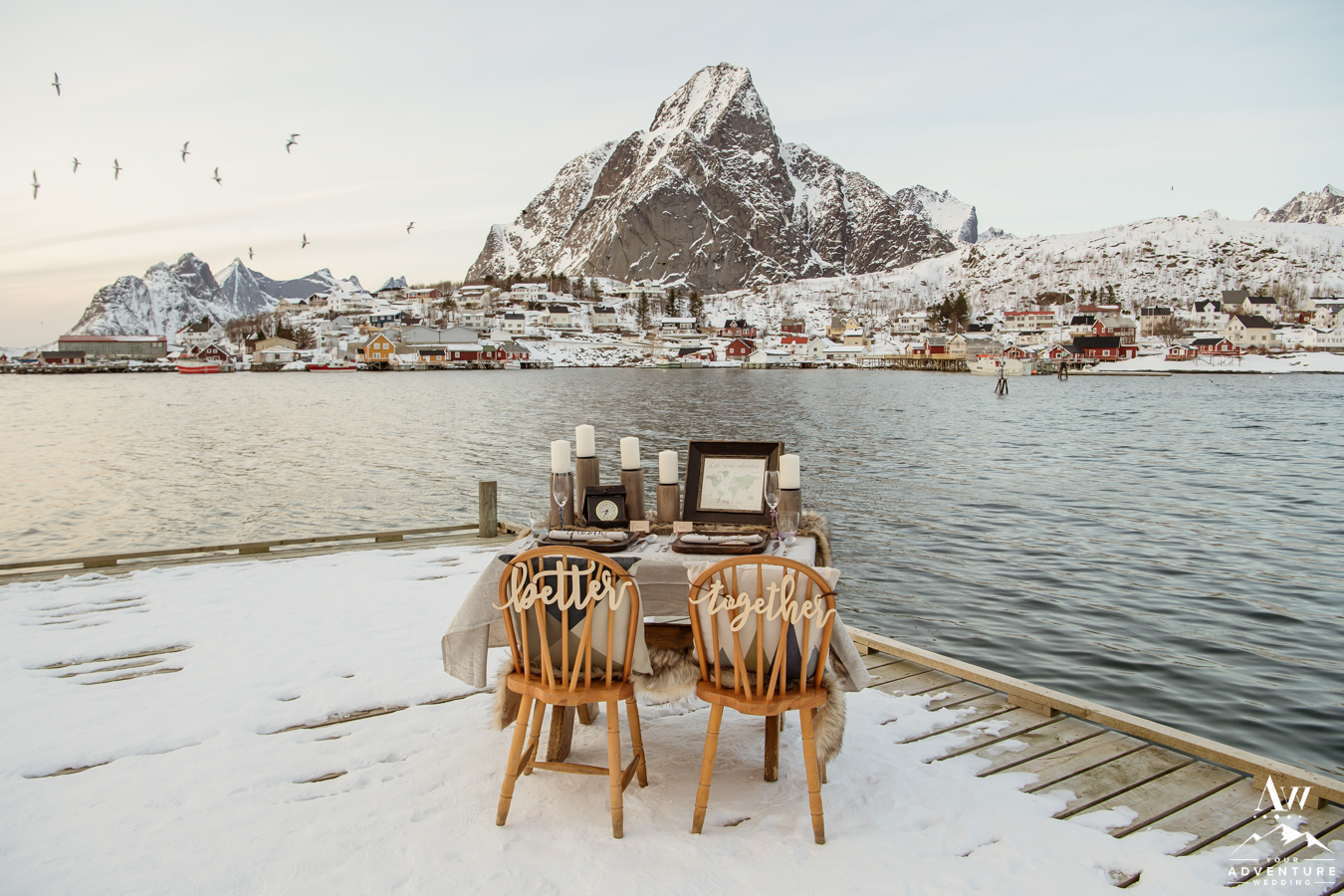 Lofoten Islands Elopement Reception Styled Table