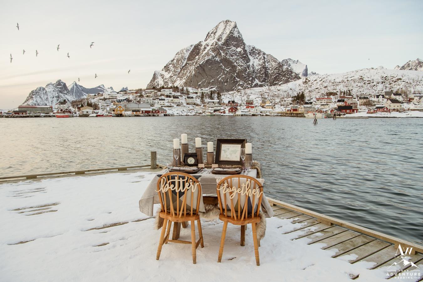 Lofoten Islands Elopement Reception Styled Table