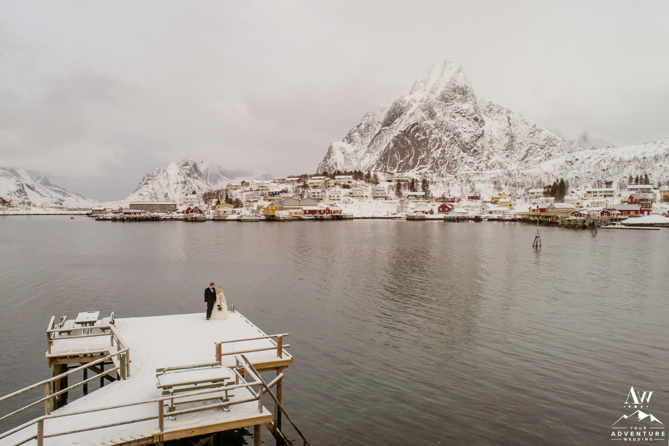 Reine Norway Wedding Couple on a dock