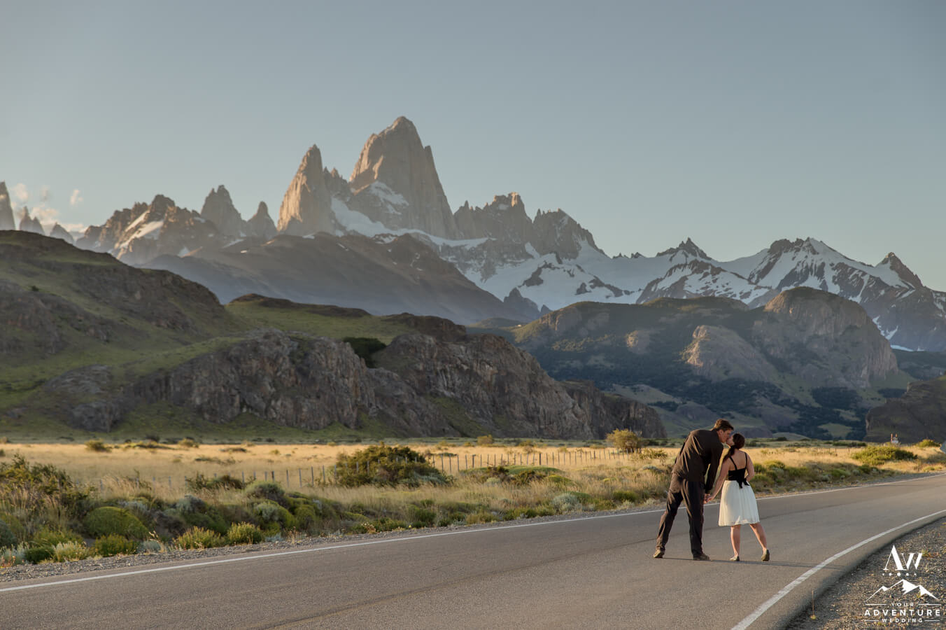 los glaciares national park elopement couple with mountains behind
