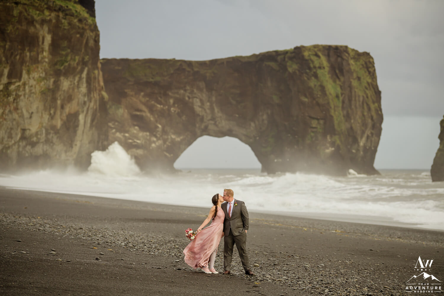 Eloping Etiquette Couple in Iceland by the sea