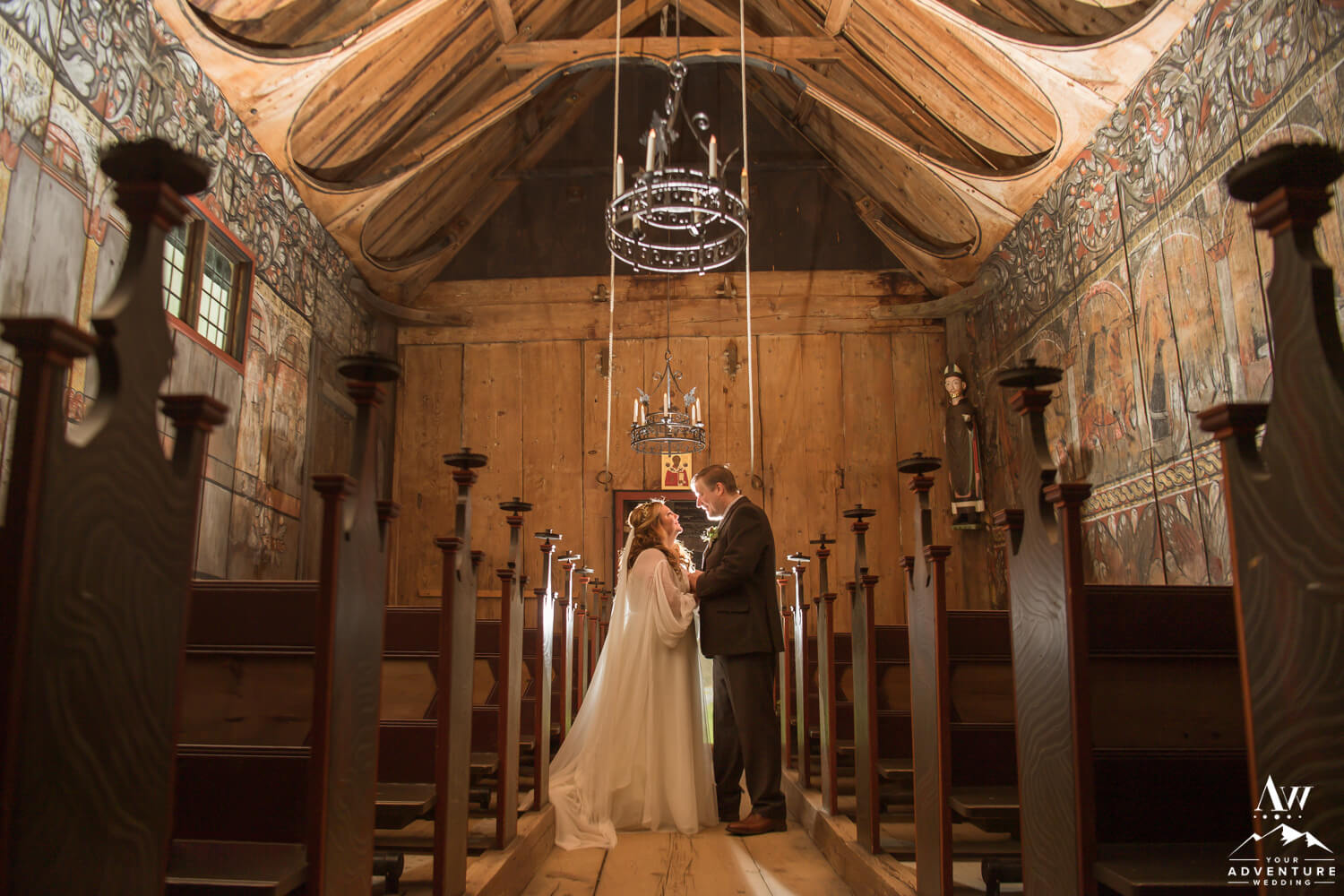 Norway Wedding Couple inside Eidsborg Stave Church