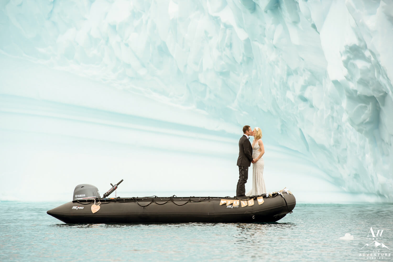 Antarctica Wedding Expedition Couple with an Iceberg