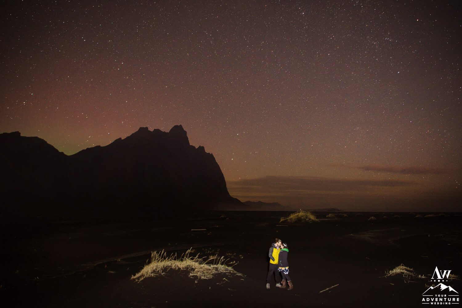 Nighttime Elopement Photos at Vestrahorn Mountain in Iceland