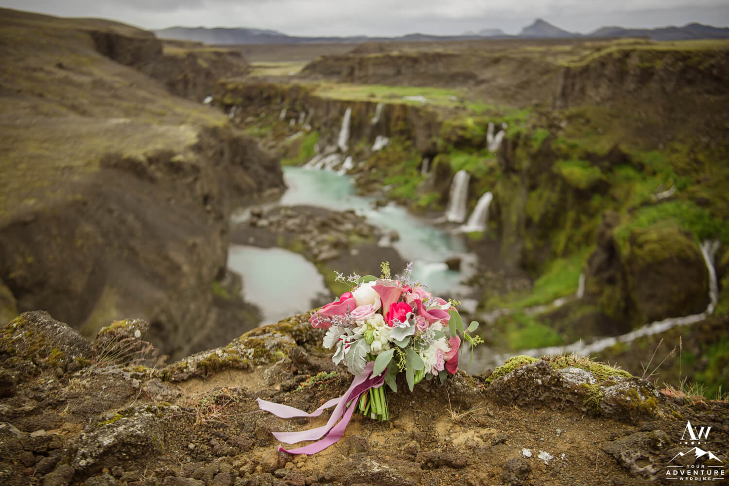 Bouquets for Adventure Weddings and Elopements at waterfall