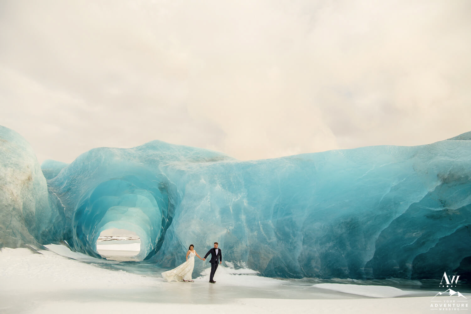 Blue Ice Cave Elopement Couple Walking