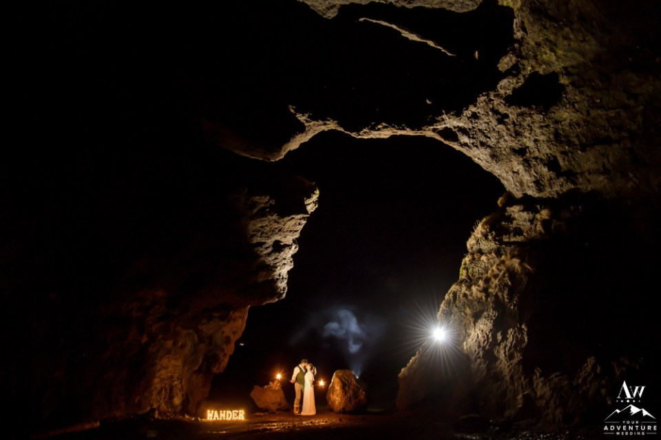 Iceland Wedding Couple in a cave at night