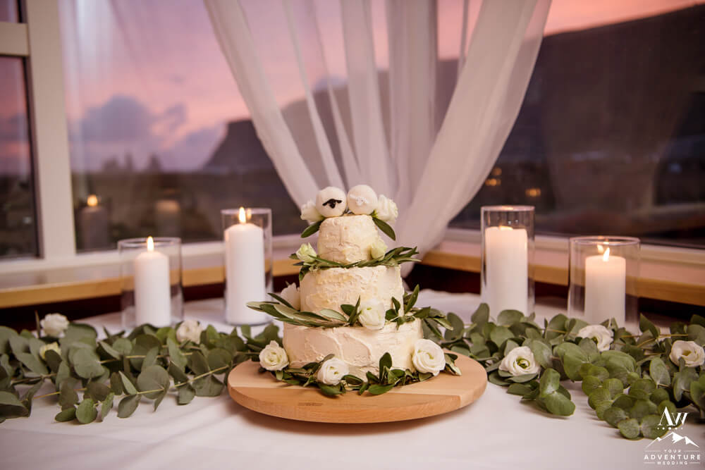Adventure Wedding Cake with View of Iceland at Sunset