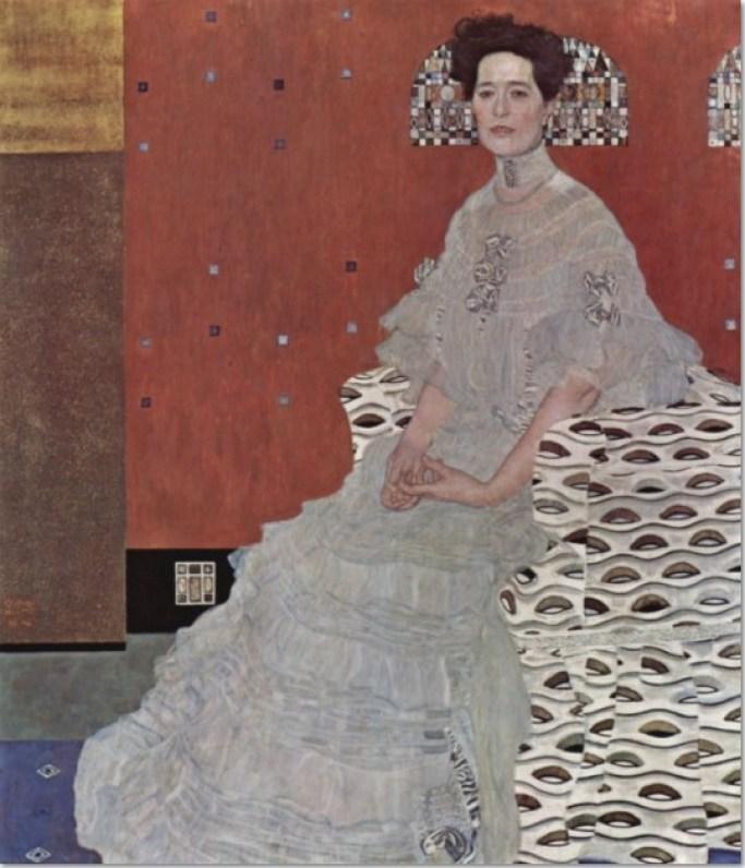 Gustav Klimt Bildnis Fritza Riedler, 1906, Öl auf Leinwand, Format 153x 133cm. Österreichische Galerie Belvedere Wien.