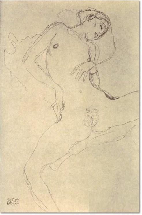 Gustav Klimt Akt mit gespreizten Beinen