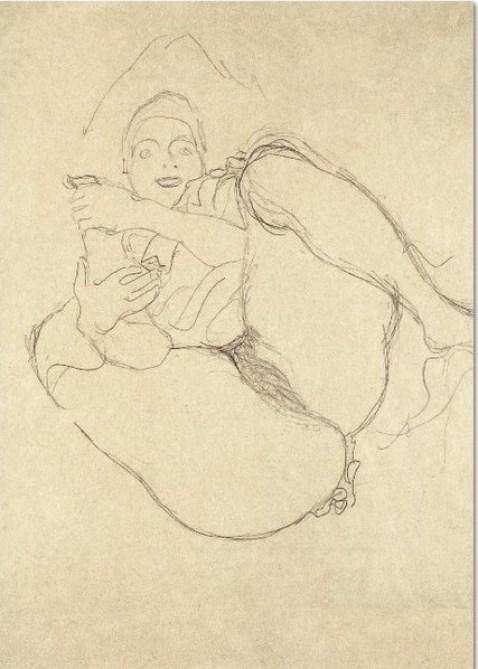 Gustav Klimt: 'Liegender Halbakt, frontal', 1910, Buntstiftzeichnung auf Papier