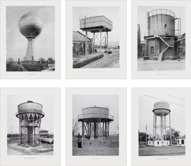 "Bernd und Hilla Becher, Sechs Wassertürme 1976 Set of 6 offset lithographs, each print 52 x 40 cm (20½ x 15¾""), each signed on verso. Artist´s proof in addition to an edition of 385"