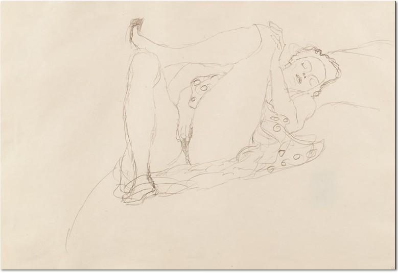 """Gustav Klimt:""""Liegender Halbakt nach rechts"""", 1914/15, Buntstifte auf Papier"""