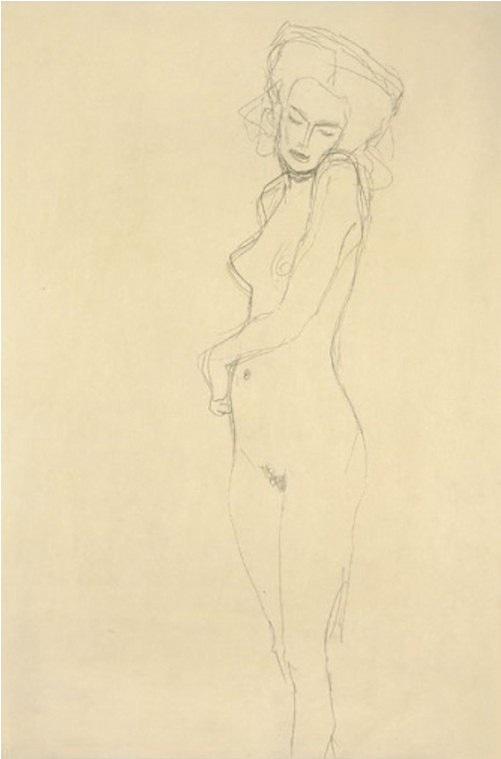 Gustav Klimt Nach vorne stehender Akt 1907