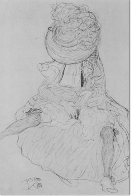 Gustav Klimt Sitzende mit Hut, der das Gesicht verdeckt 1911