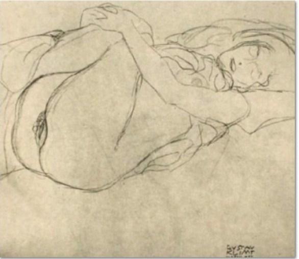 """Gustav Klimt: """"Studie zu Danae"""", 1907, Bleistift auf Papier"""
