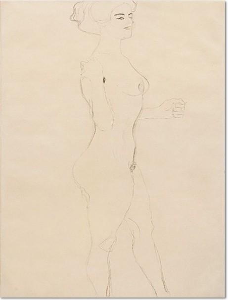 Gustav Klimt, NACH RECHTS SCHREITENDER MÄDCHENAKT, 1906/07 Bleistift auf Papier, 560 x 368 mm