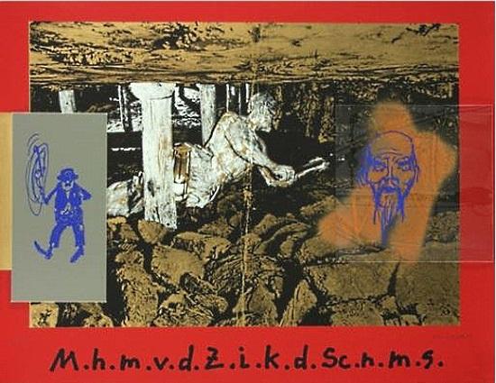 Martin Kippenberger (1953-1997): Mutti hol mich von der Zeche, ich kann das Schwatte nicht mehr sehn, 1983, Collage mit einer bedruckten grauen Kunststoffplatte und einer bedruckten Plexiglasplatte auf Serigrafie in Gold, Schwarz, Grau und Rot/Karton, 61 x 80 cm