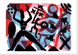 A.R. Penck: 'Aufstand', Aquatinta Radierung, signiert, nummeriert, lim. Auflage: 35 Exemplare, Blattformat: 76,0 x 107,0 cm
