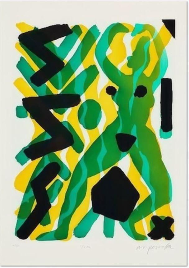 A.R. Penck, Vision (Grün-Gelb) III, Aquatinta Radierung handsigniert, nummeriert lim. Auflage: 50 Exemplare 76,0 x 107,0 cm