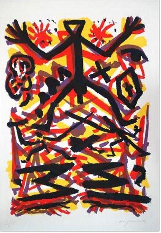A. R. Penck: 'Energiefeld Urszene, Der Mensch', 1999, Radierung auf Bütten, signiert, nummeriert, lim. Auflage 35 Exemplare, Bildformat: 69,5 x 49 cm, Blattformat: 90 x 65 cm